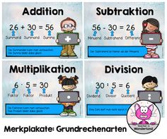 Mathe in der Grundschule: Merkplakate: Grundrechenarten