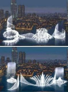Water show with lights is amazing! Spouts of water move in time to music.