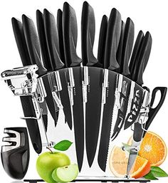Stainless Steel Knife Set with Block - 13 Kitchen Knives Set Chef Knife Set with Knife Sharpener, 6 Steak Knives, Bonus Peeler Scissors Cheese Pizza Knife and Acrylic Stand by Home Hero - Cruce Shopping Best Kitchen Knife Set, Best Kitchen Knives, Kitchen Gadgets, Kitchen Tools, Kitchen Utensils, Kitchen Things, Kitchen Products, Kitchen Supplies, Kitchen Stuff
