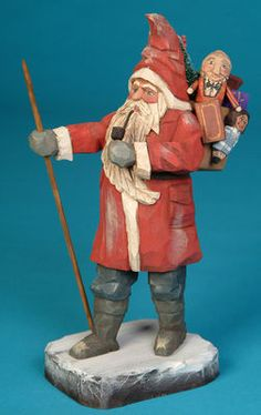 Folk art wood carvings from The Whimsical Whittler :: A Merry Walk Ltd. Ed. :: Christmas and Santas