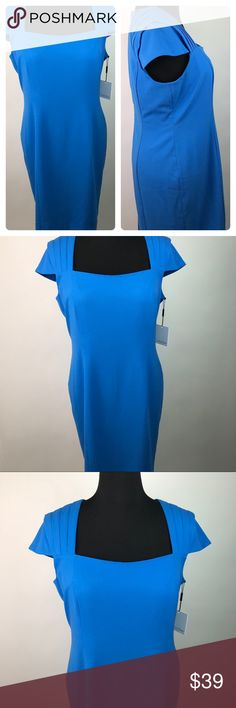 NWOT Calvin Klein Sheath Dress Blue 14 AK18 ****PLEASE NOTE- the tags on the dress in the photos were lost after photographing and will not come with dress. NEVER WORN- NWOT**** Calvin Klein Womens Cap Sleeve Sheath Dress NWOT Blue Plus Size 14 AK18 This NWOT Sheath dress by popular Calvin Klein, features a polyester, rayon, spandex blend textile, in royal blue, with Pleated cap sleeves, square neckline, back zipper and slit. Perfect when combined with a blazer for career wear, or for any…
