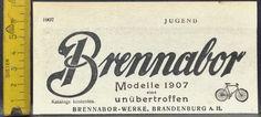 Brennabor Fahrrad,Modell 1907 unübertroffen,Brandenburg a.H.,orig.Anzeige 1907   eBay