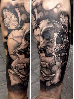 Skull and flowers tattoo.