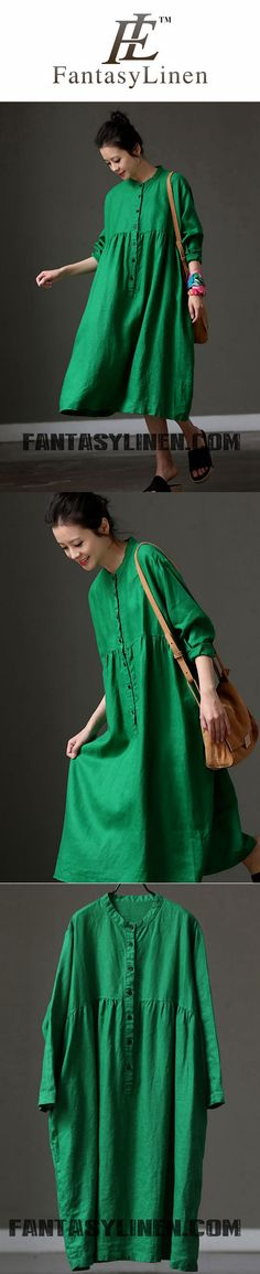 GREEN LONG SLEEVE FASHION LOOSE WOMEN DRESS Q219