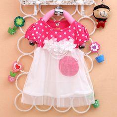 2016 лето новый стиль платья девушки Sun Flower dot net пряжи шить платья для маленьких девочек Детские платья детские одежда