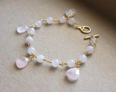 Love Love Bracelet with Rose Quartz by Hee103Jewelry on Etsy, $8.00