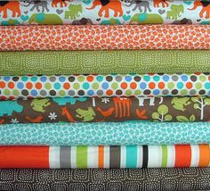 Elephant Walk Fat Quarter Bundle of 8 by by SistersandQuilters, $22.00