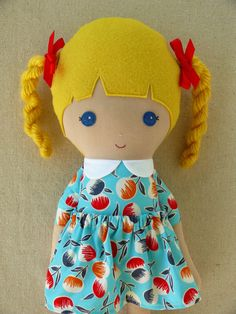 Fabric+Doll+Rag+Doll+Blond+Haired+Girl+with+Braids+by+rovingovine,+$38.00
