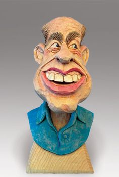"""""""Dominic,"""" a carved caricature by Pete LeClair a Woodcarving instructor at the John C. Campbell Folk School 