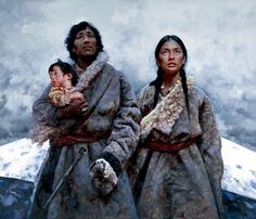 Tibet Girl paintings by Chinese artist Ai Xuan.