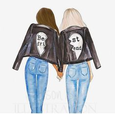 Best friends personalized wall art multi cultural friends fashion illustration print gift for sister twin roommate add name to the print Drei beste freunde