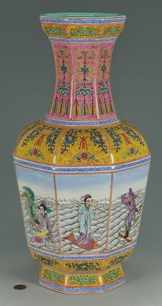 Large Chinese Famille Rose Porcelain Paneled Vase