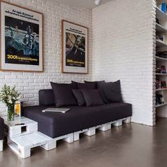 pallet furniture apartment Modern Apartment With An Industrial Vibe And Pallet Furniture Diy Living Room Decor, Living Room White, White Rooms, Living Room Designs, Living Room Furniture, Home Decor, Small Living, Modern Living, Wall Decor
