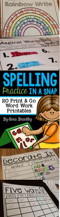 Need to spice up your word work stations and/or spelling practice in your classroom? This packet includes 20 print and go activities that are sure to keep your students engaged and having fun while working with words! https://www.teacherspayteachers.com/Product/Spelling-Practice-in-a-Snap-1588407