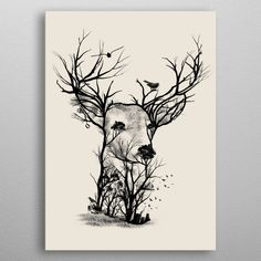 Wild Buck Scenery Artwork by Dan Fajardo High-quality metal print from amazing Illusion Negative Space collection will bring unique style to your space and will show off your personality. Pencil Art Drawings, Animal Drawings, Drawing Sketches, Sketching, Deer Drawing, Nature Drawing, Drawing Scenery, Owl Tattoo Design, Cervo Tattoo