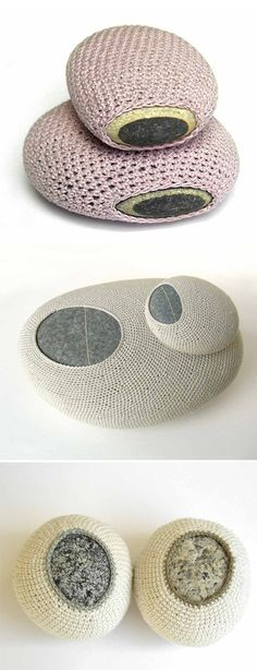 susanna bauer - crochet on rocks - simple and simply beautiful Crochet Stone, Crochet Art, Crochet Patterns, Grannies Crochet, Textiles, Yarn Bombing, Stone Art, Rock Art, Textile Art