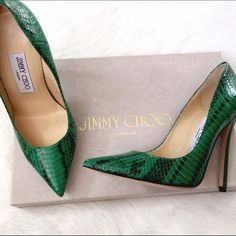 NWT Jimmy Choo Anouk Green Elaphe This is THE Jimmy Choo silhouette; keep an eye on the star mags, you'll see Anouks on EVERYONE! One small smudge on insole on one shoe, no other signs of wear, ship in original box. Jimmy Choo Shoes Heels