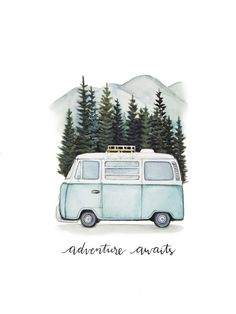 """VW Bus """"Adventure awaits"""" Road trip to the mountains, original art print - VW B . - VW Bus """"Adventure awaits"""" Road trip in the mountains, original art print – VW Bus """"Adventure awai - Photos Amsterdam, Painting & Drawing, Watercolor Paintings, Bus Drawing, Cactus Painting, Road Painting, Diy Painting, Road Drawing, Watercolor Pictures"""