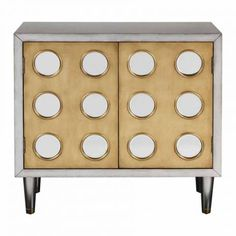 Uttermost Antiqued Silver Accent Cabinet with Circular Mirror Accents