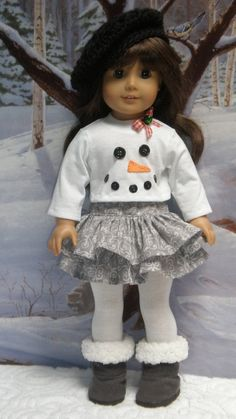 American Girl Snowflake Ruffled Skirt Snowman Tee Shirt Hat 18 by dollupmydoll - Puppen & -kleidung/Dolls & clothes - Dolly Dolls American Girl Outfits, American Girl Crafts, American Doll Clothes, American Dolls, Sewing Doll Clothes, Baby Doll Clothes, Crochet Doll Clothes, Doll Sewing Patterns, Doll Clothes Patterns