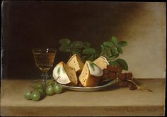 Raphaelle Peale (1774–1825). Still Life with Cake, 1818. The Metropolitan Museum of Art, New York.  Maria DeWitt Jesup Fund, 1959 (59.166) | Peale's tightly grouped still lifes are often permeated with a delicate melancholy akin to that which characterized the life of the artist; he was an alcoholic who suffered the effects of arsenic and mercury poisoning caused by his work as a taxidermist in his father's museu