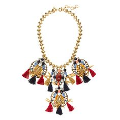 "This is a necklace to get noticed in: Colorful stones, shiny crystals and fluttery tassels make it a total showstopper.  <ul><li>Length: 16"" with a 2 1/2"" extender chain for adjustable length.</li><li>Brass, zinc, glass, Czech glass, acrylic beads, resin.</li><li>Light gold plating.</li><li>Import.</li><li>Jewelry Design © 2013 J.Crew International, Inc.</li></ul>"
