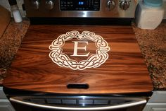Walnut Cherry or Oak Stove Top Cover Range Topper Engraved Kitchen Stove, Kitchen Redo, New Kitchen, Kitchen Remodel, Stove Top Cover, Stove Covers, Diy Wood Projects, Home Projects, Apartment Makeover