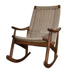 Stately Teak and Rope Rocker