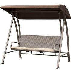 Porch Swing Outdoor Lounge Chair Seats 3 Patio PE Wicker Glider Bench with Steel Frame and Padded Cushion, Dark Brown, Patio Furniture Wicker Porch Swing, Porch Swing With Stand, Patio Swing, Porch Swings, Backyard Swings, Indoor Swing, Outdoor Wicker Furniture, Wicker Sofa, Deck Furniture
