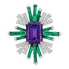 Chanel Amethyst, Emerald & Diamond Spray Brooch   Betteridge
