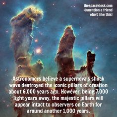 A sad and catastrophic end to the iconic Pillars of Creation. Bite-sized, mind blowing space facts about the Universe and the cosmos. Whether you're new to astronomy / astrophysics or not, check us out @ https://www.instagram.com/thespacekiosk/ Image: NASA, ESA, and The Hubble Heritage Team (STScI AURA)