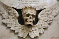 Totentanz by Richardr crowned, winged skull, Christ Church Cathedral, Oxford, England // maggiegiacobbe:funeral:paranoid-disorder: (via bloo. Memento Mori, Easy Clay Sculptures, Sculpture Clay, Crane, La Danse Macabre, Skull Reference, Desenho Tattoo, Arte Horror, Tatoo