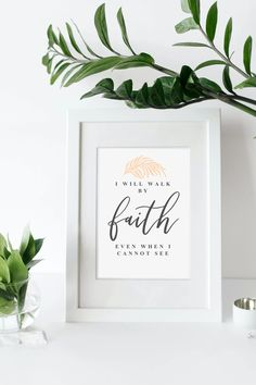 """""""I Will Walk By Faith"""" Printable - Aimee Weaver Designs Barn Wood Signs, Wooden Signs, Wood Artwork, Making Signs On Wood, Walk By Faith, Personalized Signs, Frame It, Christian Gifts, Walking By"""