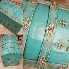 An old chest I painted for a client. Old Trunks, Vintage Trunks, Trunks And Chests, Vintage Suitcases, Antique Trunks, Trunk Redo, Trunk Makeover, Furniture Makeover, Refurbished Furniture