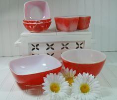 Pyrex OvenWare Bowls Set of 7 - Vintage Mid Century Kitchen Collections - Primary Color Red in 3 Shapes and Sizes - Ultra Shabby Chic
