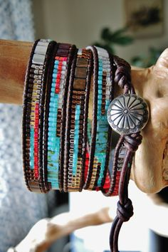 SEDONA....5 Wrap Womens Leather Bracelet Simply, Japanese (top of the line) Miyuki Delica & Tila Glass Beads in Turquoise, Palladium Silver,