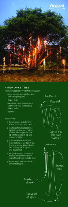 Create a stunning Fireworks Tree using mini LED lights. Everything you need to create this tree is available at Orchard Supply Hardware-except the tree, of course!