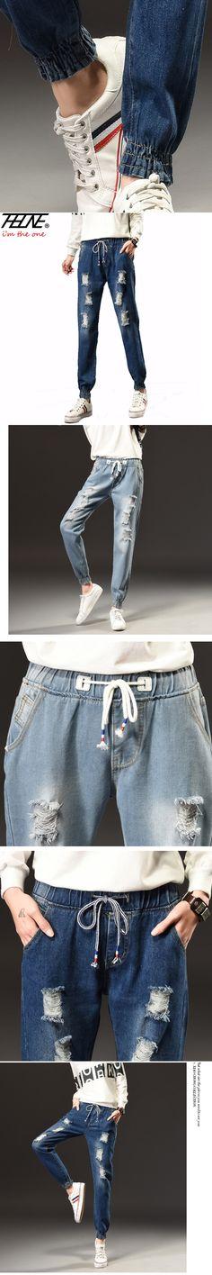 0e2775cfb538 2017 Spring Women Jeans Ripped Denim Pants Jogger Jeans Fashion Holes Casual  Trousers Torn Elastic Waist Plus Size Jeans Female