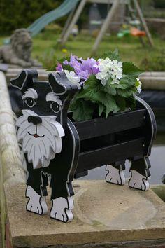 Schnauzer Planter. Garden Ornaments. Garden Decorations. Dogs. Pets. Handmade.