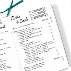 Bullet journal tasks and goals