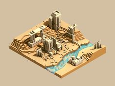 Low Poly Isometric by Timothy J Reynolds. Crea Design, Bg Design, Game Design, Graphic Design, Isometric Map, Isometric Design, Isometric Shapes, Game Concept, Concept Art