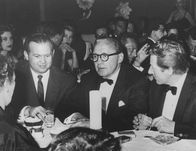 Johnny Grant, Jack Benny , Danny Kaye on right  at the Mocambo Nightclub in West Hollywood
