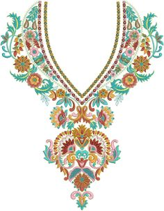 Neck Yoke Gala Embroidery Designs Of Kameez Dresses - Embdesigntube Embroidery Neck Designs, Free Machine Embroidery Designs, Hand Embroidery Patterns, Beaded Embroidery, Beading Patterns, Cross Stitch Embroidery, Designs For Dresses, Kolkata, Stitch Design