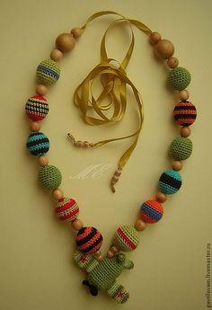 Купить слингобусы ПОБЕДНЫЕ - бусы вязаные, бусы из ткани, украшения ручной работы, украшения из ткани