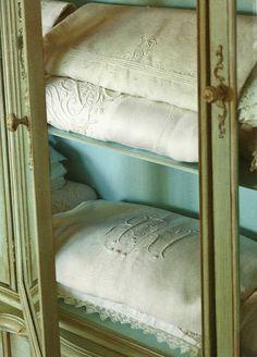 #greige monogrammed linen...