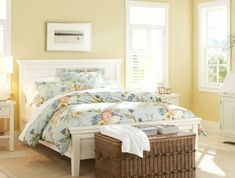 Avoid the Mistake Almost Everyone Makes Choosing Yellow Yellow is Back! Avoid the Mistake Almost Everyone Makes Choosing Yellow SW 7684 Concord Buff Room by Pottery Barn Pale Yellow Bedrooms, Pale Yellow Walls, Yellow Paint Colors, Blue Bedroom, Trendy Bedroom, Modern Bedroom, Bedroom Wall, Yellow Duvet, Yellow Rooms