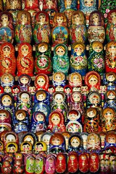 Russia and it's Matryoshka - Hand carved and painted dolls.