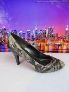 "Womens shoes APT 9 Clarion Snake Grey leather 3.5"" Shiny Stiletto Pumps sz 8 M #Apt9 #Stilettos"