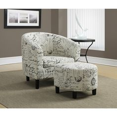 Vintage French Fabric Accent Chair and Ottoman - Overstock™ Shopping - Great Deals on Living Room Chairs