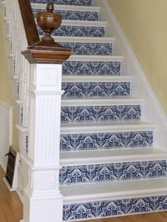 DIY Network shares ideas to enhance your staircase's style by sprucing them up with wallpaper, tile and wallpaper that looks like tile.